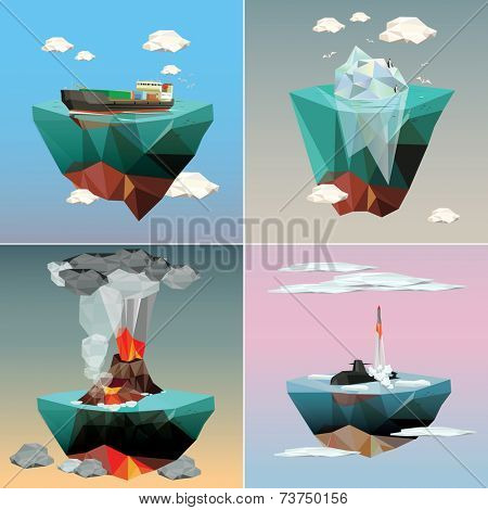 Islands in the sky. Sea ecology and nature. Set of Illustrations.