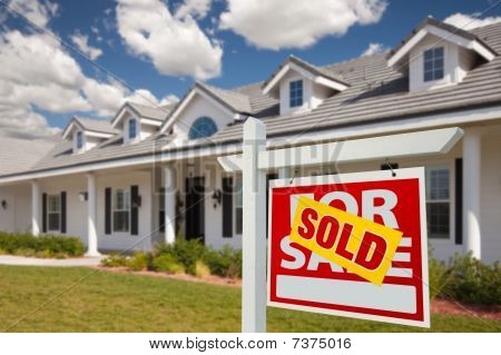 Sold Real Estate Sign And House - Right