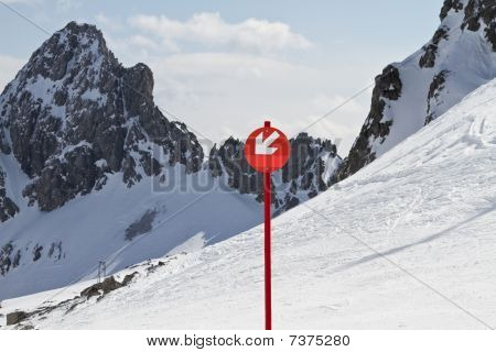 Down Arrow Sign On Ski Slope