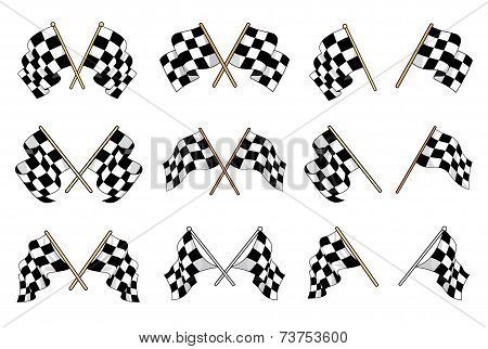 Set of vector checkered flags