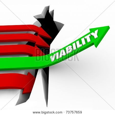 Viability word on a green arrow jumping over a crack or hole to illustrate potential or possible success or achievement