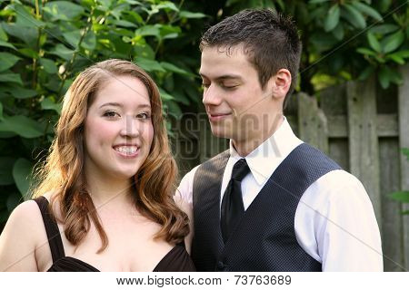Prom Boy Smiling At Beautiful Date