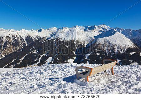 Bench At Mountains Ski Resort Bad Gastein - Austria