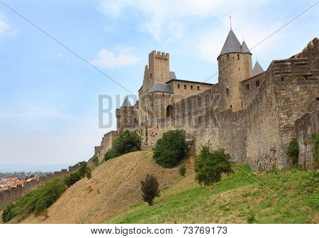 The walls around medieval city of Carcassone, France