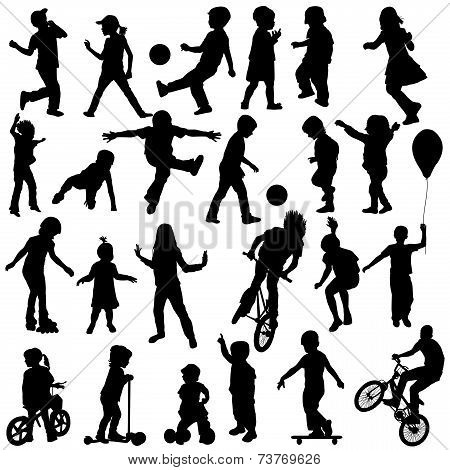 Group Of Active Children, Hand Drawn Sillhouettes Of Kids Playing