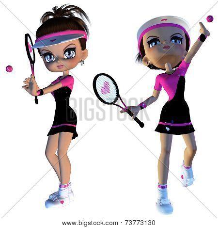 Cartoon Tennis Player
