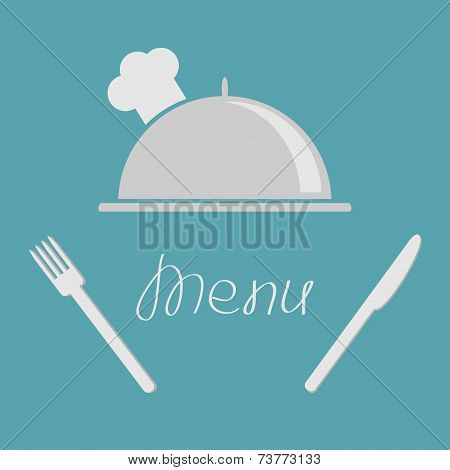 Silver platter cloche fork and knife. Menu cover flat design style