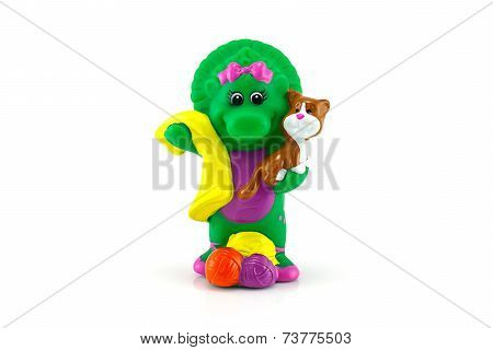 Baby Bob Green Dinosaur Figure Toy Wear A Birthdays  Costume With Cake.