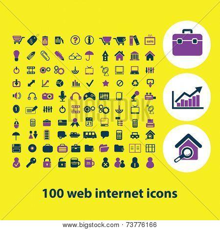 100 web internet, icons, signs, symbols, illustrations, vectors set