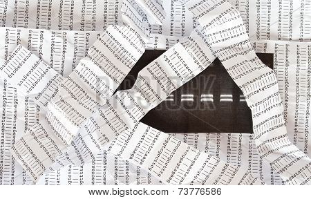 Electrophoresis picture, crumpled DNA sequence background, crumpled DNA sequence stripes