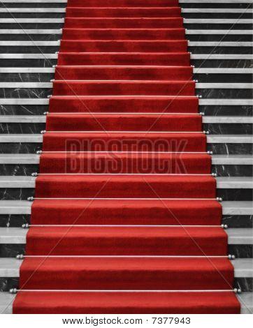 Red Carpet On Marble Stairway