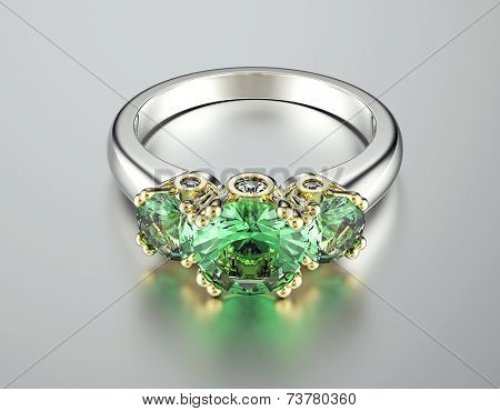 Golden Ring with Diamond. Peridot. Fashion Jewelry background