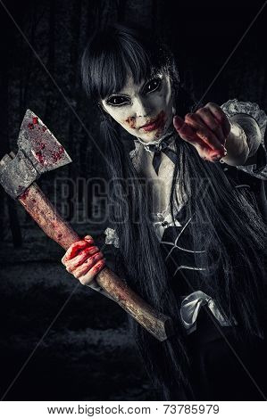 Woman Zombie With Bloody Axe