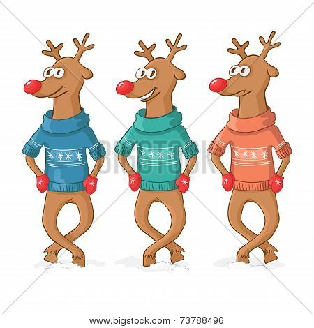 three deer dance. Postcard Merry Christmas. Vector poster