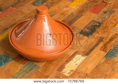 Moroccan Tagine On A Colorful Table