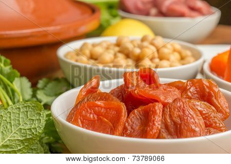 Ingredients For A Moroccan Dish With Dried Apricots