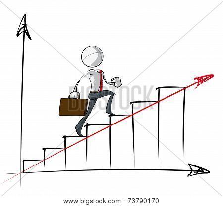 Simple Business People - Steady Growth Chart