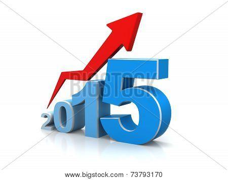 Year 2015 Growth Blue Arrow