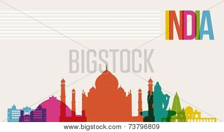 Travel India Destination Landmarks Skyline Background