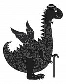 Symbol of holiday East New Years dragon in a hat with a cane, black silhouette with white lines. Vector poster