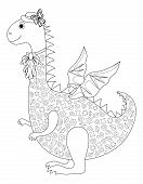 Symbol of holiday East New Years dragon in a hat and a jabot, contours. Vector poster