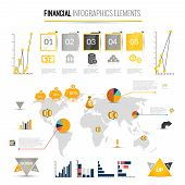 Money finance business infographic with financial icons and world map on background vector illustration poster