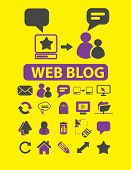 web blog, chat isolated icons, signs, illustrations, silhouettes set, vector on background for web and mobile  poster