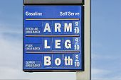 A gas sign with a humorous slant: I incorporated the old saying cost an arm and a leg onto the sign. poster