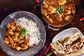 indian curry meal with balti dish, naan, and basmati rice poster