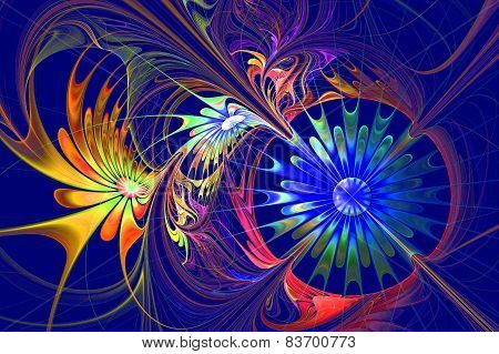 Flower Background. Blue And Darkorange Palette. Fractal Design. Computer Generated Graphics.