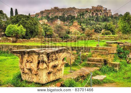 Corinthian capital at the Ancient Agora of Athens - Greece poster