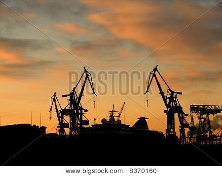 Shipyard in Sunset
