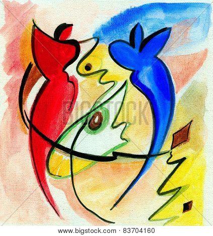 Abstract Man and Woman dancing