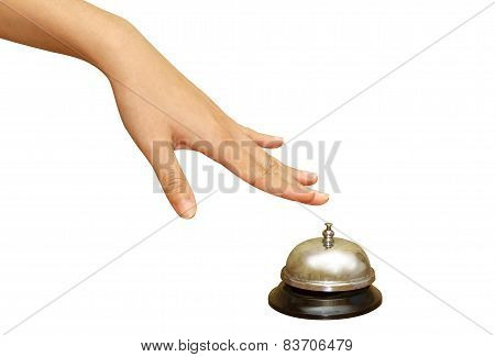 Woman Hand Pressing  A Hotel Service Bell