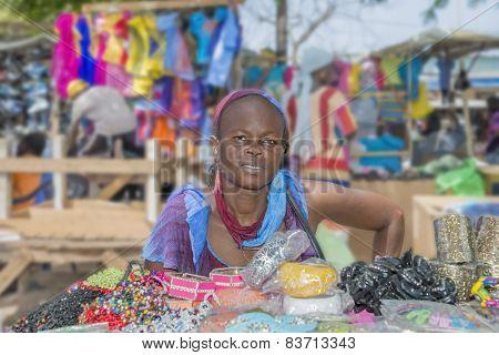 Dakar, Senegal, Africa - July 20, 2014: Unidentified street seller, Sandaga Market