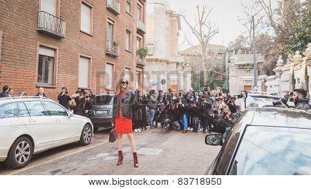 People Outside Alberta Ferretti Fashion Show Building For Milan Women's Fashion Week 2015
