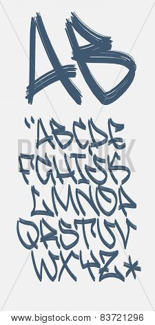 Vectorial font in graffiti marker hand written style. Capital letters alphabet. poster