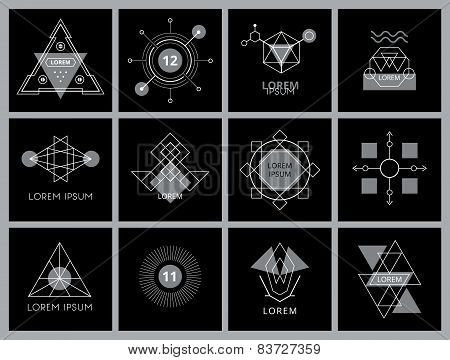 Futuristic Geometric Hipster Elements and Logos.