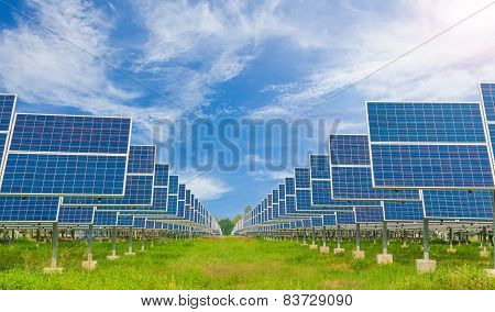 Power Plant Using Renewable Solar Energy With Blue Sky