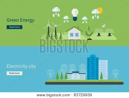 Flat design vector concept illustration with icons of green energy, eco friendly and electricity cit