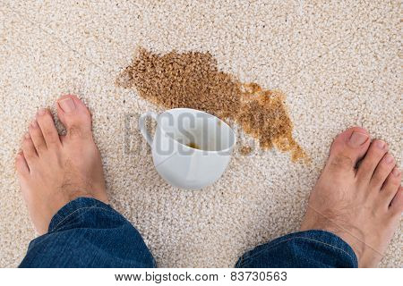Person Standing Near Coffee Spilled On Carpet