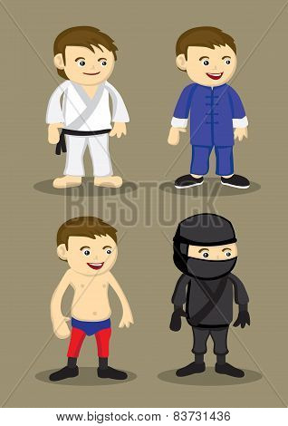 Martial Arts Uniform And Outfits Vector Illustration