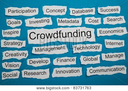 Word Crowdfunding On Piece Of Torn Paper