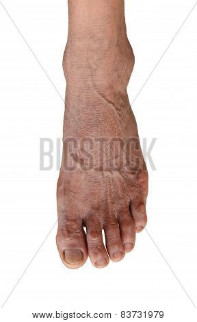 Foot Of Elderly Woman Isolate On White Background