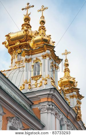 Golden Domes. Church Of St Peter And Paul In Peterhof
