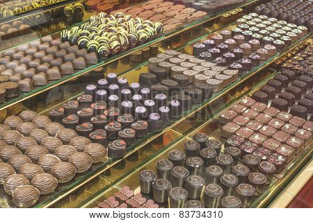 Chocolate Candy In A Store Window