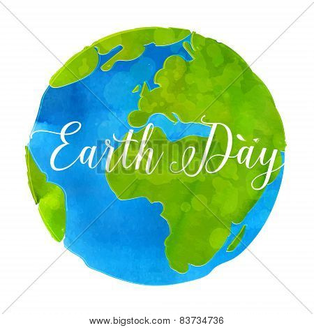 Earth day poster with watercolor paint texture hand drawn globe vector illustration