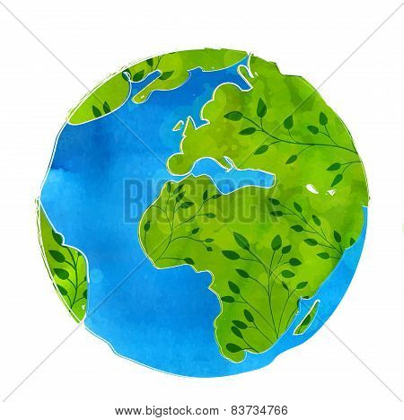 Artistic vector illustration of Earth globe isolated on white background. Watercolor texture with br