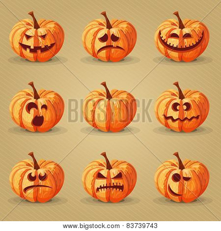 Halloween set. Pumpkins, facial expressions, emotions.