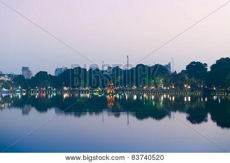 Turtle Tower In Evening Hanoi Vietnam